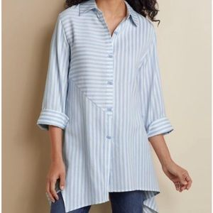 Soft Surroundings blue & white striped shirt tunic